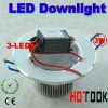 3 Watt led Downlight ceiling light with 3 leds lights 85~265V