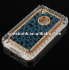 Luxury Designer Diamonds Leopard Fur Skin Leather Case Cover For iPhone4 4G 4S