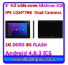 "1024*768 HDMI 1G 8G 8"" Plastic Dual Cameras android Market tablet pc (816)"