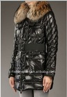 Long genuine big fox fur collar down coats
