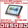 7'' inch GPS navigation APICAL SiRF Atlas-V Dual core CPU 800MHz DDR 128M 4G memory Bluetooth/AV-IN