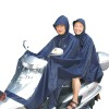 Larger polyester raincoat with double hoods for bike motorcycle