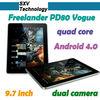 "9.7"" IPS Screen Tablet PC 3G Sim Samsung Exynos 4412 Quad Cortex 2GB Ram Freelander PD80 Vogue"