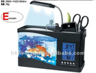 Multi-fucntion acrylic fish tank with clock,light,pen hold