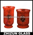S02229 glass candle holder with painting color