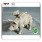 9.5 Inches Gray Resin Animal Sculpture - Flying Pig