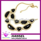 2012 hot-sale black pearl indian agate stone necklace