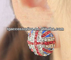 Fashion magnetic The union jack earrings with rhinestone