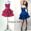 P1220 Delicate Strapless Mini Cocktail Dresses/Fashion Two Layers Skirt Beaded Prom Dresses