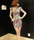 Vogue Padded Shoulder Colorful Flower Mini Dress Grey HD12092703-1
