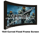 140 inch HD curved fixed frame projection screen compatible projector/TV