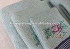 blue solid color cotton soft bath towel set purple with embrodery