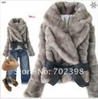 2012 Fashion fur jacket / Winter Rabbit coat / Ladies jacket/