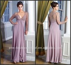 DR121124 2013 Style Elegant Custom-Made A-Line V-Neck Chiffon Sequines Sexy Floor Length Long Sleeve Prom Dresses