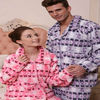 TWO WINGS flannel printed couples pajamas