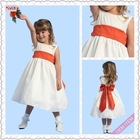 3027-1hs Lovely Fairy Tea Length Big Bowknot Back red flower girl dresses
