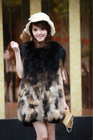 2012 New design Women's gradient pattern fox fur vest