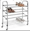 4 tier metal shoe rack with chromeplate