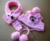 Hand Knitted Crocheted Dog hat and scarf Animal pattern (KCC-DHS001)