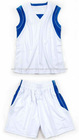 Mens white royal shinny polyester basketball set