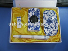 Promotional 4 in 1 blue and white porcelain gift sets