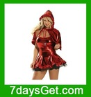 Red Foil Sexy Mini Dress with Adorable Hat