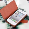 Factory Supply Creative Ultra Thin & Light leather case for iphone4 -4Colors, No Hard Case, Brown