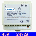 whole sales cheaper good quality DIN install 45W 24vdc 2A switching power supply