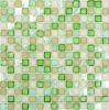 rustic glitter green bathroom kitchen wall floor decoration glass mosaic free pattern