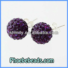 Wholesale Newest Purple 925 Sterling Silver Earrings Rhinestone Crystal Round Ball Shamballa Stud Earring Jewelry SSCE010