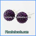 Wholesale Newest Purple 925 Sterling Silver Earrings Rhinestone Crystal Round Ball Shamballa Stud Earring Jewelry SSCE010