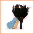 Black feather high heeled shoes condoms