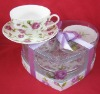 220cc bone china cup and saucer in printed PVC box