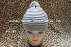 grey 100%Acrylic Knitted Beanies with Pom