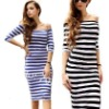 latest stripe off shoulder cotton casual fashion dress