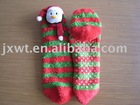 snow man christmas slipper sock