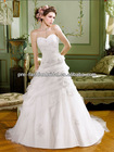 Elegant Beautiful Lace Beaded Applique Strapless Chapel Train Organza Cover Up for Wedding Dress 2013