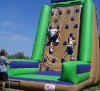 Inflatable rock climbing wall brown and green
