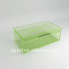 Clear green acrylic towel box with logo and 2 tiers