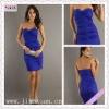 2100-1hs 2012 Newest Style Sweetheart Beading Blue Taffeta Sheath Knee Length Ruching european cocktail dresses