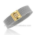 Gold Plated Stainless Steel mens Mesh cz Diamond Rings