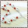 silver charm bracelets jewelry of 100% solid genuine 925 sterling silver star charm bracelets red agate lady jewelry bracelets