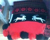 2012 Winter New Arrived Cute Animal Deer and Snow Design Ball Fringes Christmas Scarf Acrylic Knitted Scarves