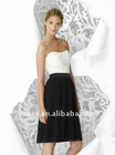 Fabulous Strapless Knee Length Black And White Role Of Junior Bridesmaid Dresses With Lace BD-C221