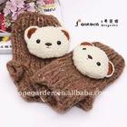 Lovely Bear Decoration Knitted Half-finger Gloves