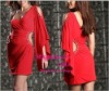Hot red chiffon One Sleeve Unique Short women dress