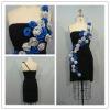 GD3227 one-shoulder appliqued & ruffle lady corset dress
