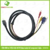 1.5M HDMI to 3 RCA VGA HD15 Video Audio AV Cable