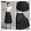 Woman Bob Dots Print Pleated Long Skirt 09122050