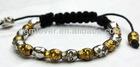 BLO019 hot selling shamballa bracelet alloy skull